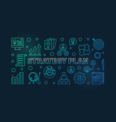 strategy plan horizontal colorful outline banner vector image
