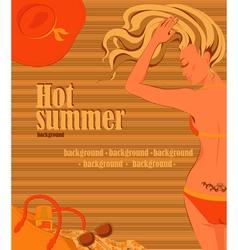Sunbathing blonde girl background vector image