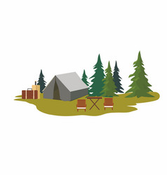 tents camping with fir trees vector image