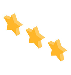 Three star rating icon isometric style vector