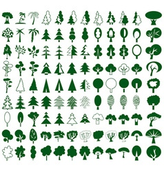 Trees icons on white vector