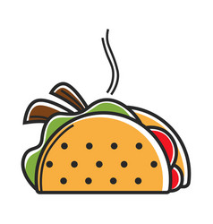 True hot mexican taco with delicious filling vector