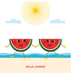 two funny pieces watermelon on beach vector image
