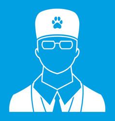veterinarian icon white vector image