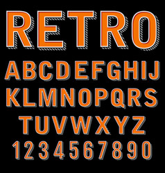 Vintage 3 dimensional typeset retro font vector