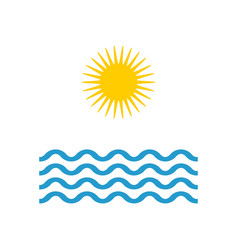 wave and sun in flat style summer icon vector image