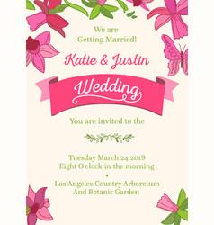 wedding decorative design invitation card vector image