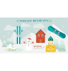 Winter holidays Winter sport Ski resort Icons vector image