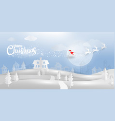 winter wonderland with santa clause and reindeer vector image