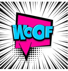 Woof comic text stripperd backdrop vector