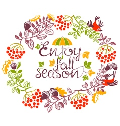 Autumn wreath doode design with birds and acorns vector image