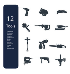 construction repair tools flat icon set vector image vector image