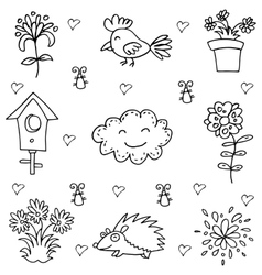Doodle of spring flower and bird vector