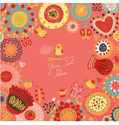 Floral background with funny birds vector image