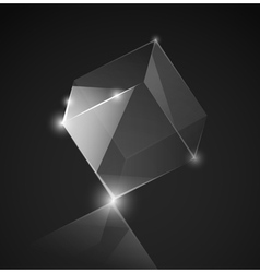 gray glass cube background vector image vector image