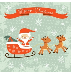 Merry Christams card with Santa vector image