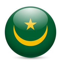 Round glossy icon of mauritania vector image vector image