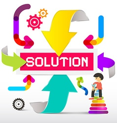 Solution Title with Colorful Paper Arrows vector image vector image