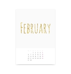 February 2017 Calendar Page vector image vector image
