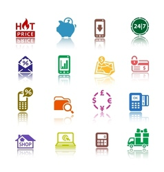 Set pictograms Shopping Icons Color with vector image vector image