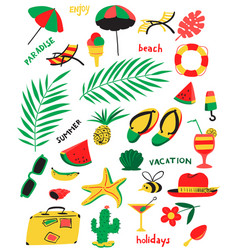 set with summer beach objects with vector image vector image
