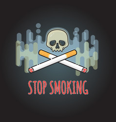 stop smoking sign with cigarette and skull vector image