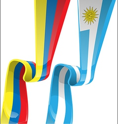 uruguayan colombian ribbon flag on background vector image vector image