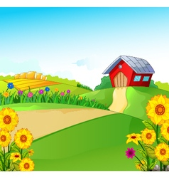 beauty farm with landscape background vector image