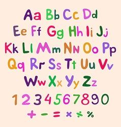 Hand-drawn alphabet art children vintage vector image