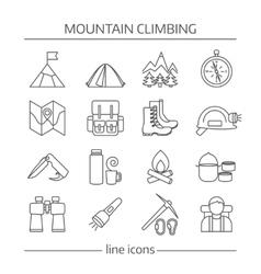 Mountain Climbing Linear Icon Set vector image vector image