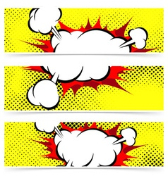 Pop art comic book explosion steam cloud header vector image vector image