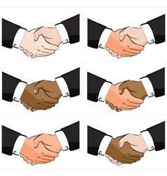6 Business Handshake Set vector image