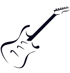 Black silhouette of electric guitar vector image