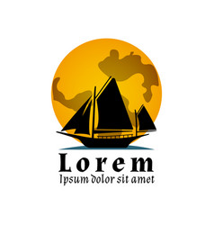 flat yacht icon boat logo on the moon vector image