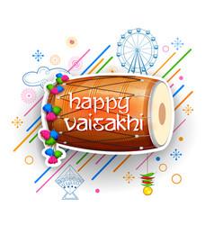 Happy vaisakhi punjabi spring harvest festival of vector