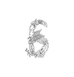 number 6 floral ornament vector image
