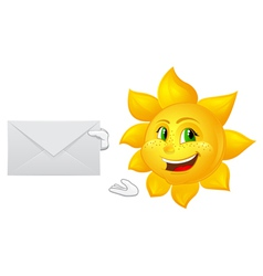 postman cartoon sun with mail vector image vector image