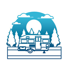 trailer home isolated in the forest between vector image vector image