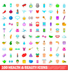 100 health and beauty icons set cartoon style vector