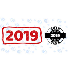 2019 grunge and clean stamp seals for new year vector image
