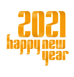 2021 happy new year gold yellow ribbon font on vector image