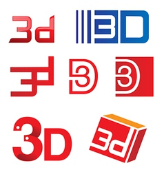 3d symbol set vector image