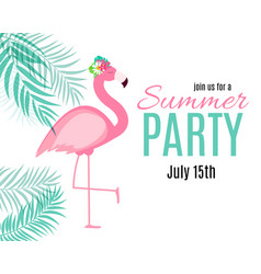 abstract summer party background with palm leaves vector image