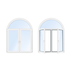 arch windows realistic icon set vector image