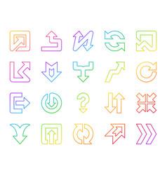 arrow simple color line icons set vector image