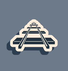 black railroad icon isolated on grey background vector image