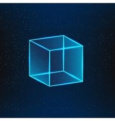 Blue glass cube vector
