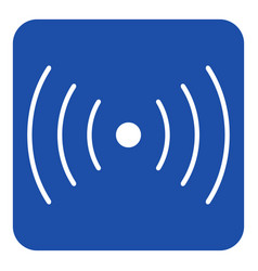 Blue white sign - sound vibration symbol icon vector
