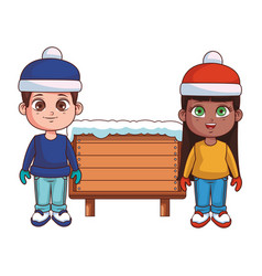 boy and girl with winter clothes and wooden sign vector image