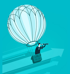 businessman flying in air balloon business vector image